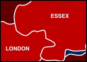 Essex, Romford, Ilford, Dagenham, Hornchurch, Upminster Map